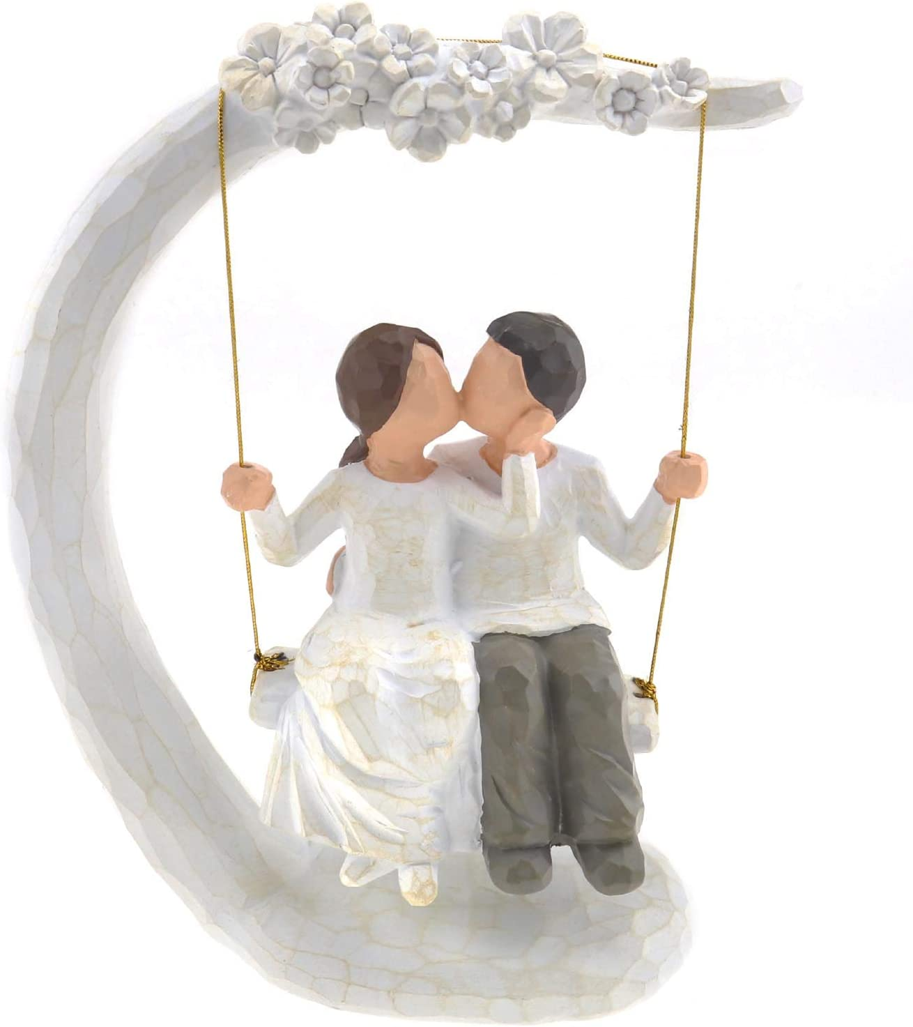 Micro Traders Couple Figure, Couple Anniversary Figurine Wedding Sculpture Love Kissing Swing Statue Wife Husband Gift Home Decoration for Valentines Day Birthday