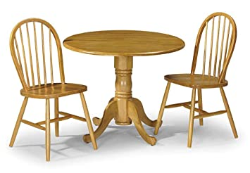 Julian Bowen Dundee Zusammenklappbarer Esstisch, Rund, Kiefer, 2 Stühle, 1  Tisch,