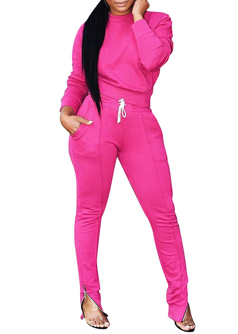 Solid Color 2 Piece Outfits Set for Women,Bodycon Pants Joggers Clubwear Tracksuit Sportswear Sweatsuit