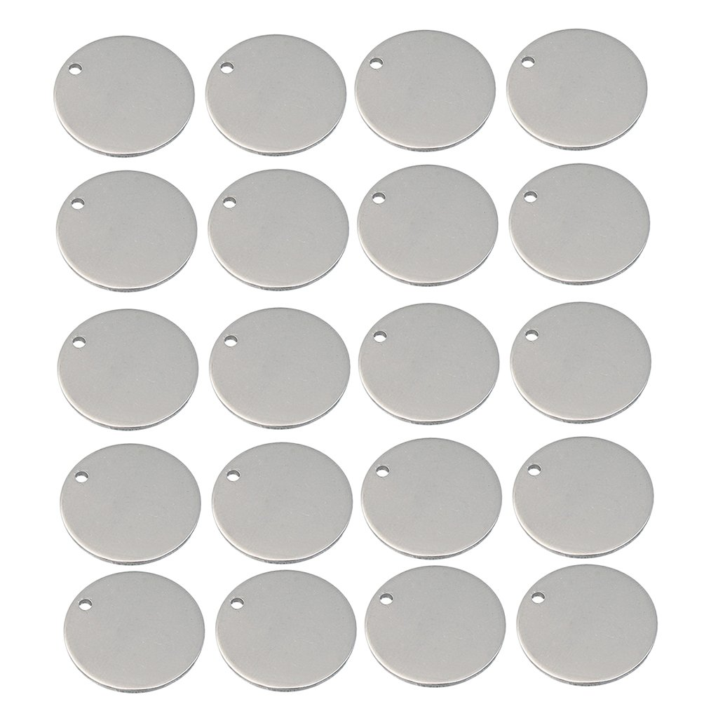 40 Pieces Stainless Steel Flat Round Circle Blank Coin Drop Stamping Charms Bail Pendants Jewelry Findings for DIY Craft 8mm