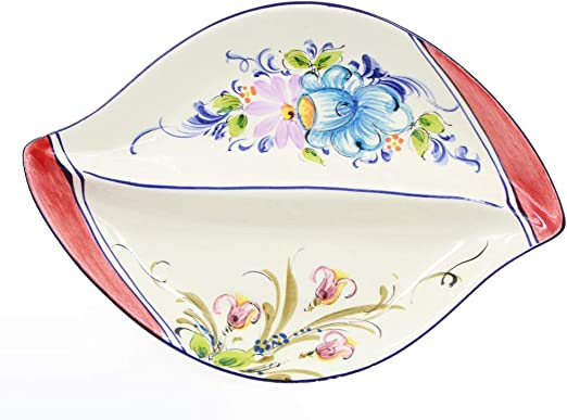 Hand-painted Portuguese Decorative Ceramic Divided Appetizer Dish Red