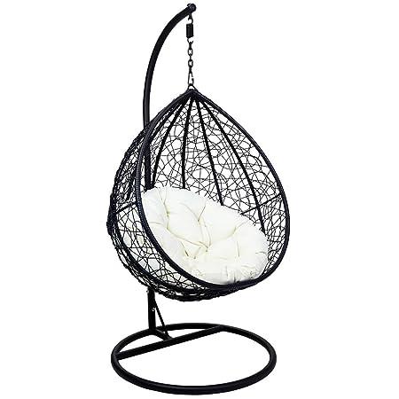 SK Outdoor/Balcony/Garden/Indoor use Wicker Swing Hanging Chair - Black/Dark Brown