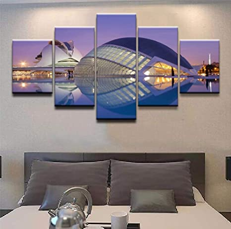 mmwin Modular Canvas Print Picture Wall Art 5 Piece City of ...