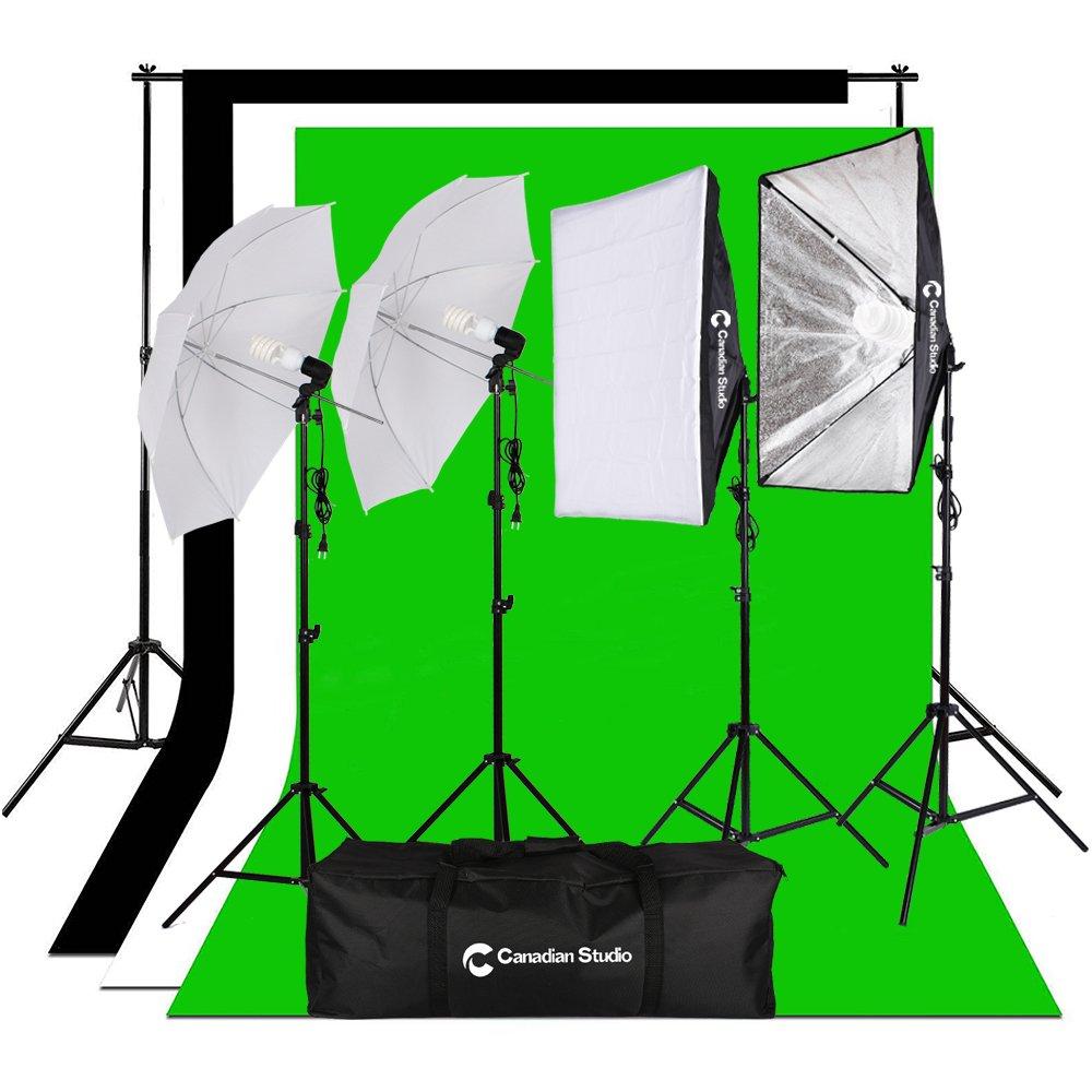 CanadianStudio Photography Video 1400 watt output Studio Continuous Umbrella softbox Lighting Light Black/White/green High Key Muslin Backdrop Stand Kit VL-50704