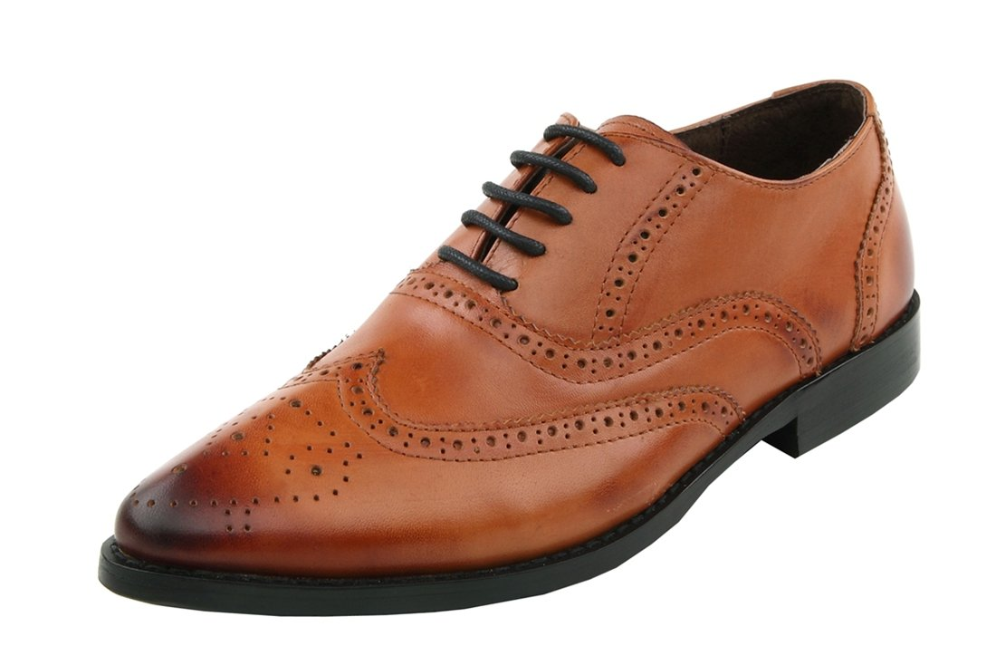 TDA Women's Wingtip Lace-up Brown Leather Dress Oxford Shoes 7 M US