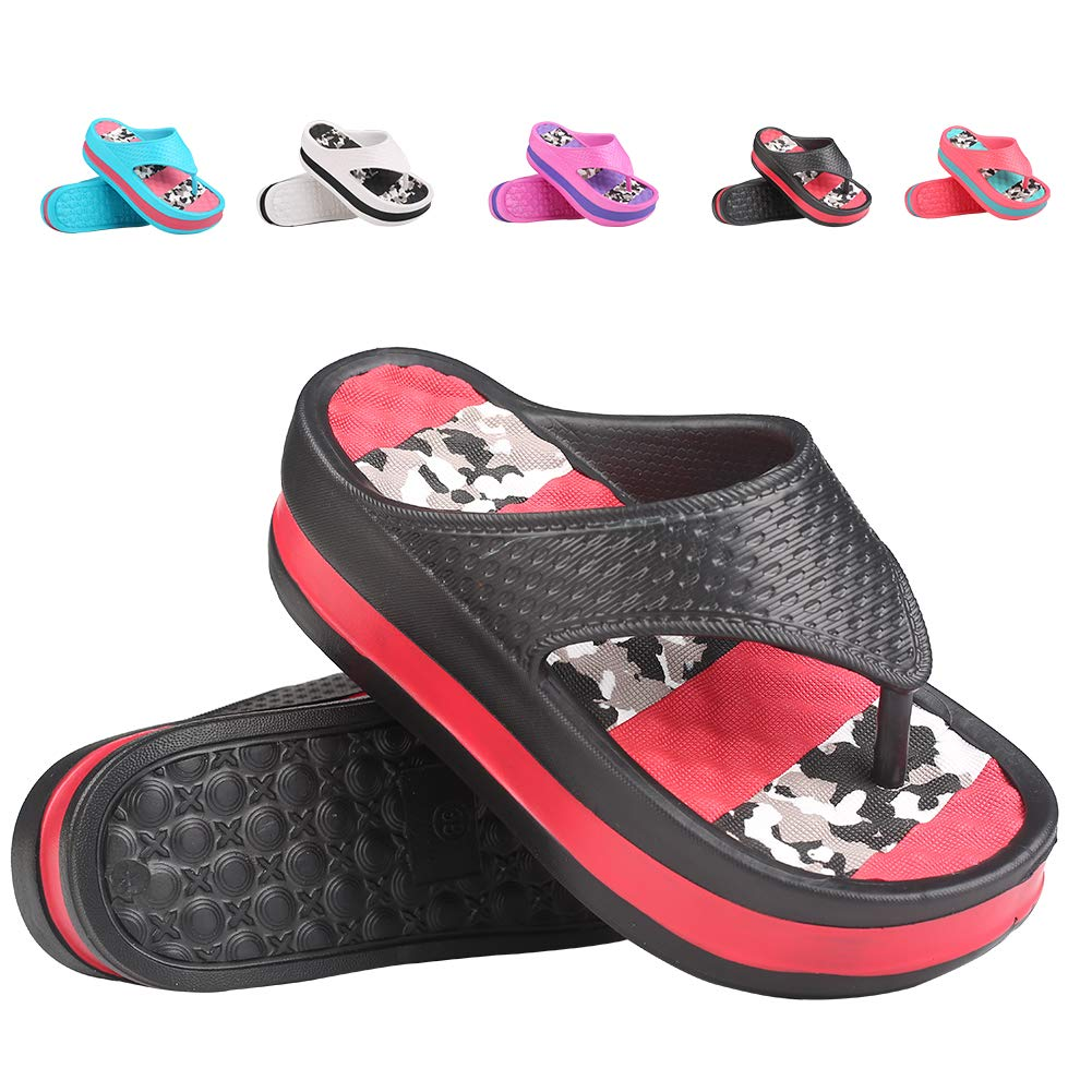 Womens Lightweight High Heel Flip Flops-Comfortable Wedge Sandals-Summer High Wedge Flip Flops for Beach,Pool (5-5.5 M US, Red) Price: $12.74