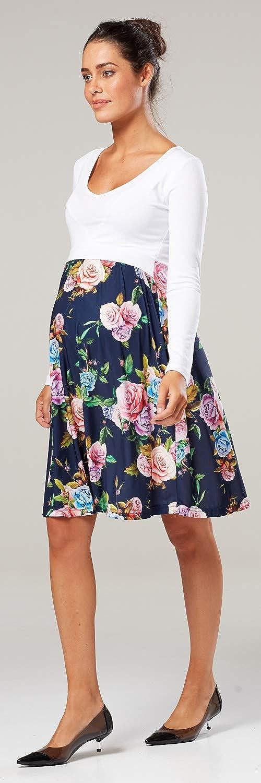 HAPPY MAMA Womens Maternity Nursing Printed Empire Waist Dress Long Sleeve 546p