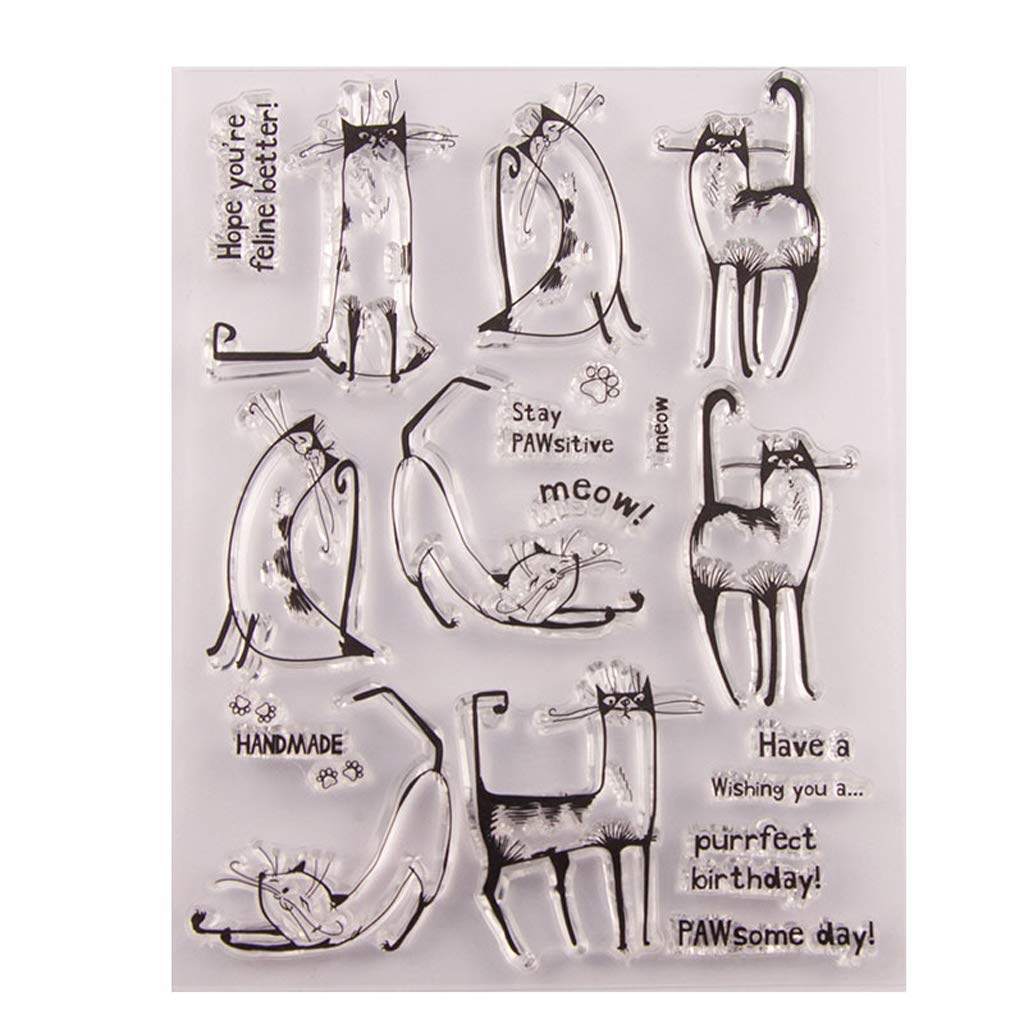 Herocome Cute Cat Transparent Clear Stamp For DIY Scrapbooking Album Paper Cards Making Decoration