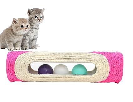 Chytaii Juguete rascador para Gatos, Gatos, Centro de Actividades, Juguetes, Tubo con Bolas de rodamiento, 29 x 8 cm, Color al Azar
