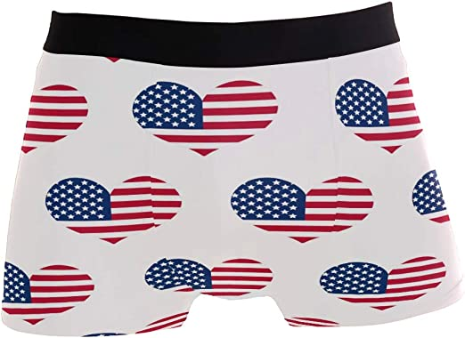 ZZKKO American Flag Mens Boxer Briefs Underwear Breathable Stretch Boxer Trunk with Pouch S-XL