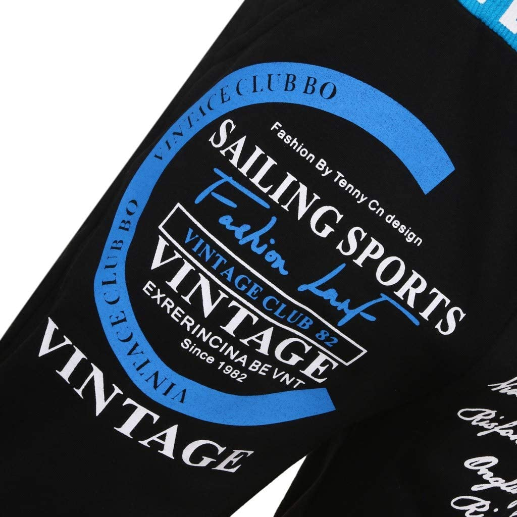 FIRMON-Jeans Herren 60er Jahre Jogginghose Casual Loose Long Pants Letter Print Kordelzug Elastische Taille Hose Sport Sweatpants Trainingsanzug