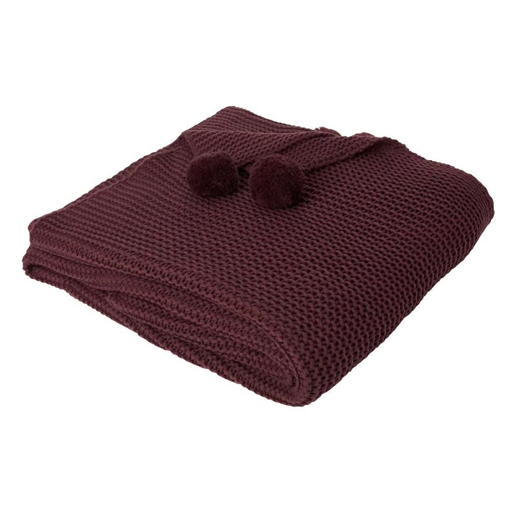 Dreamscene Chunky Knit Throw, Burgundy-150 x 180 cm, Dark Red, Large CHNKNBU96