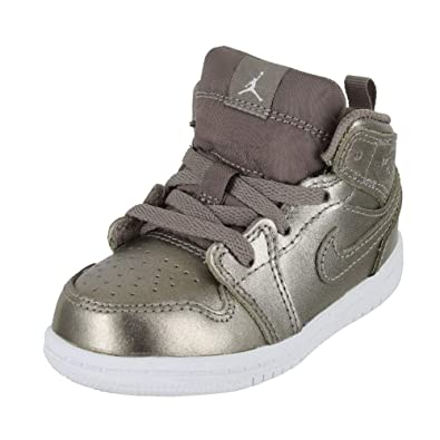 low priced 0546e afc9c Jordan Kids 1 MID SE INF Sepia Stone White Noble RED Size 8