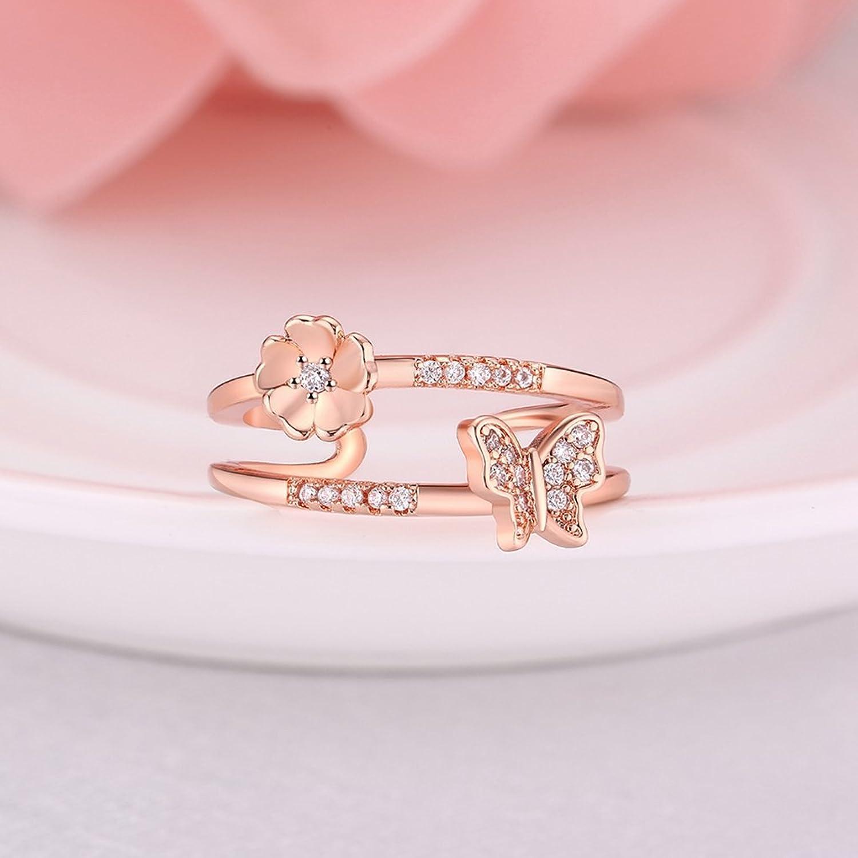 Amazon.com: FENDINA Women\'s Eternity Rings 18K Rose Gold Plated ...