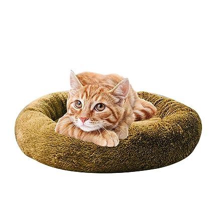 KOBWA - Cojín Redondo para Perros y Gatos con Forma de Donut y Cama para Perro