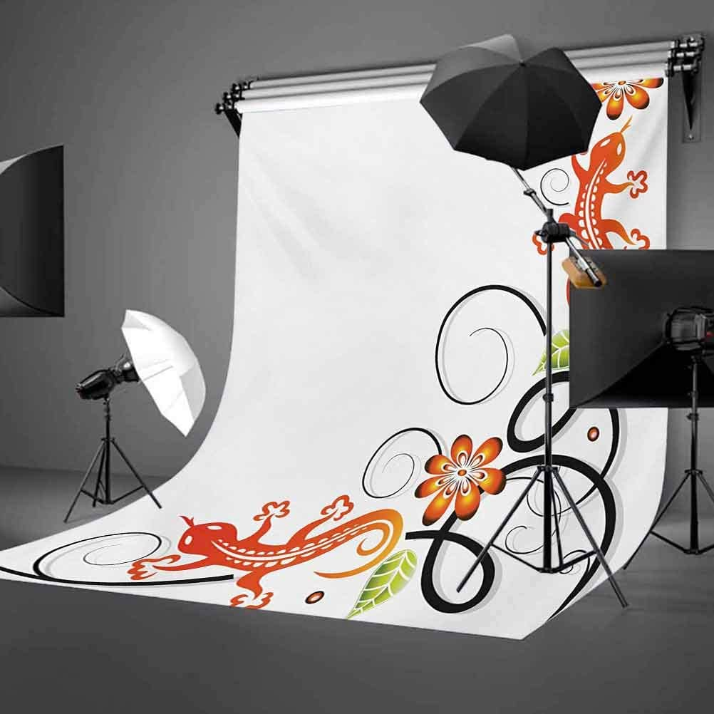 Tribal 10x15 FT Photo Backdrops,Small Baby Lizard Flowers and Leaves with Oriental Lines Print Background for Photography Kids Adult Photo Booth Video Shoot Vinyl Studio Props Orange Green Black Whit