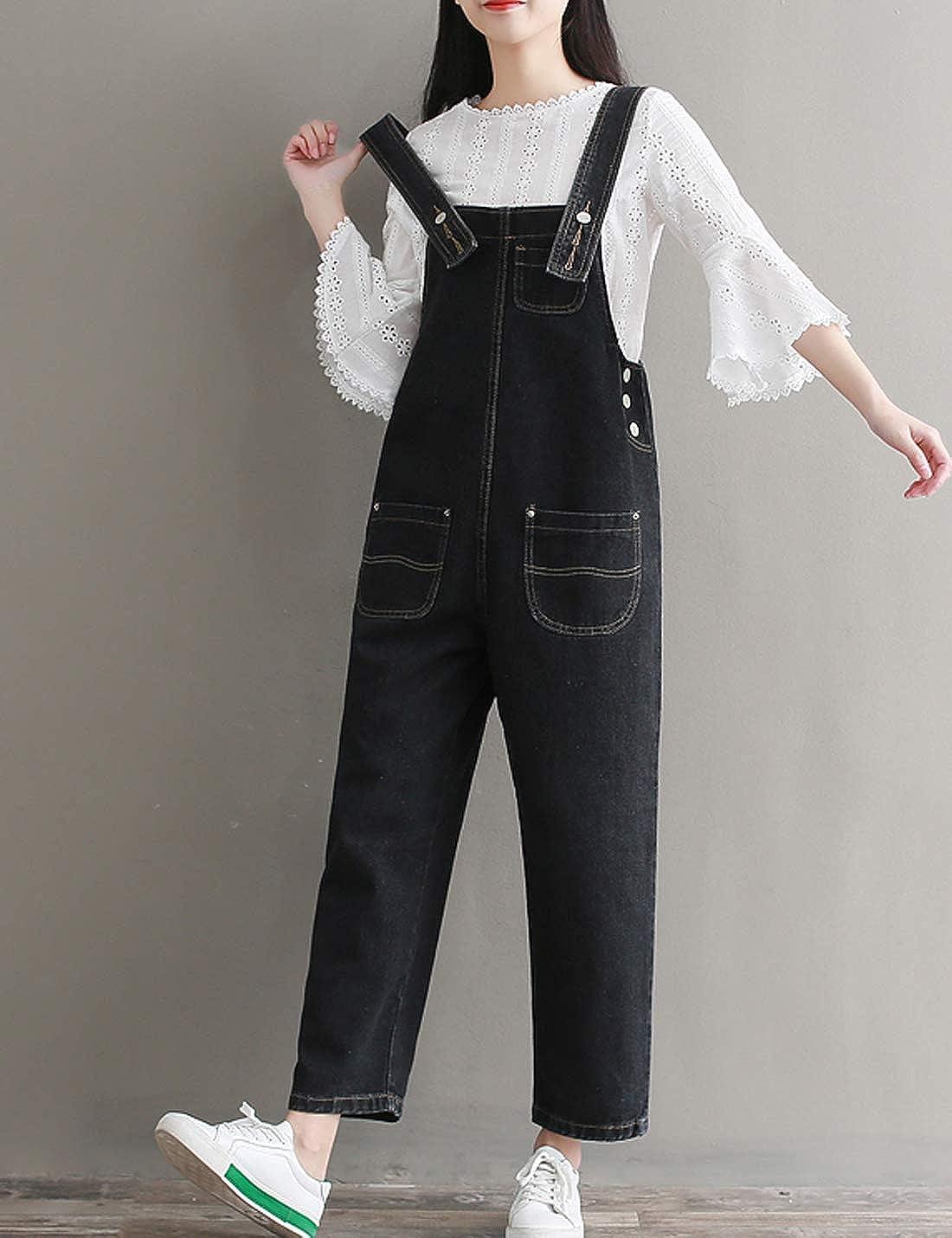 Women Casual Suspender Denim Dress Jumpsuit Romper Jeans Bib Overalls Baggy