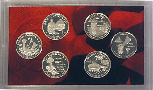 2009 S SILVER Proof DC /& US Territories Quarter 6 Coin Set w// Box and COA