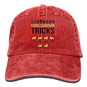 Richard Stubborn Corgi Cardigan Tricks Adult Cotton Washed Denim Travel Cap Adjustable Red