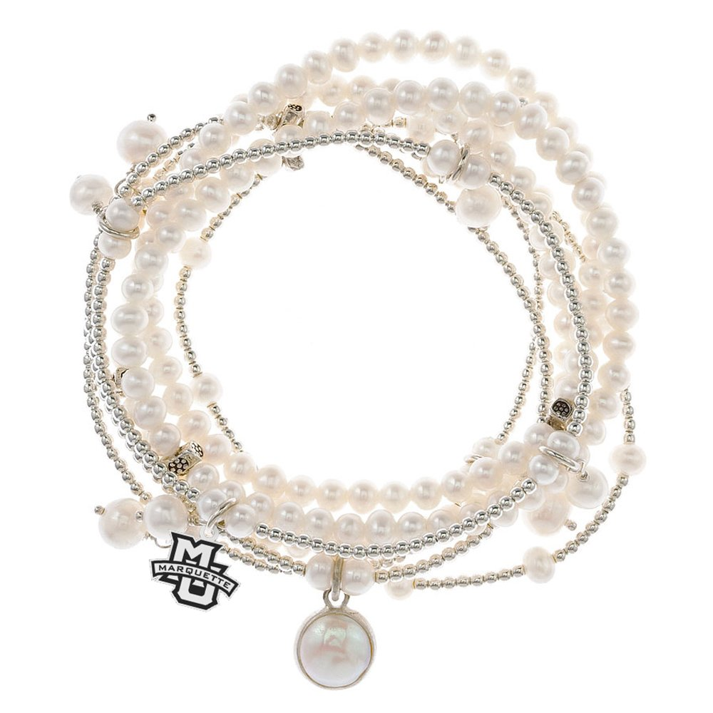 Marquette Golden Eagles 7 Strand Freshwater Pearl and Silver Bracelet