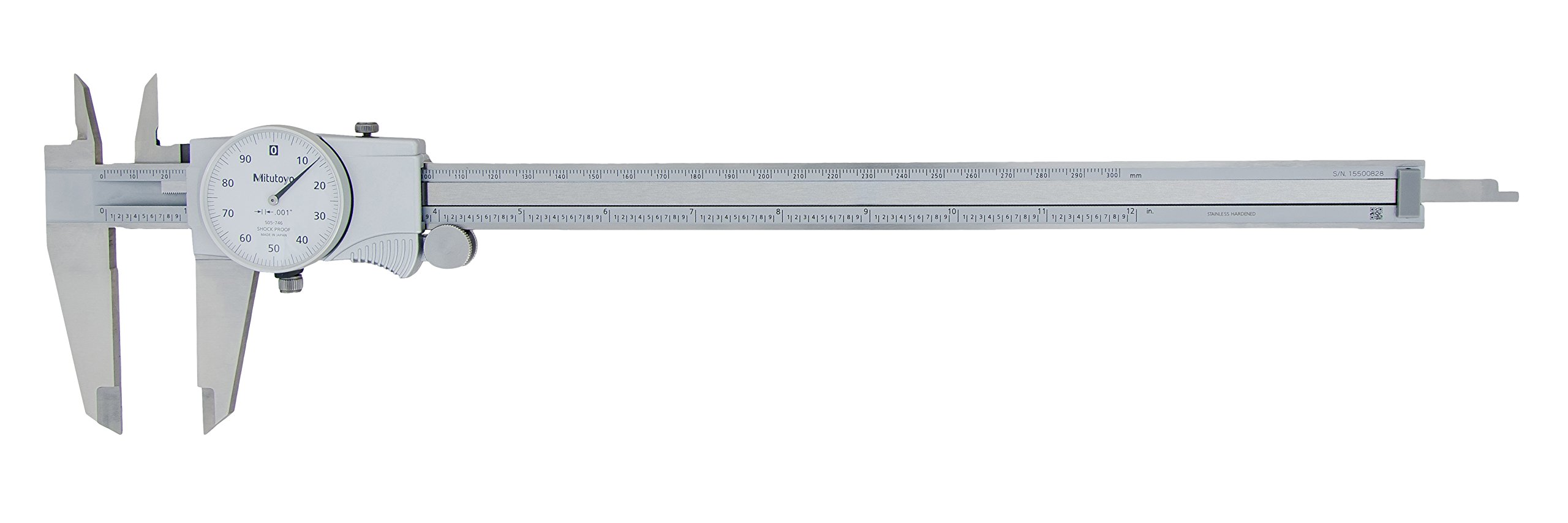 Mitutoyo 505-746 Dial Caliper, 0.1'' per Rev, 0-12'' Range, 0.001'' Accuracy