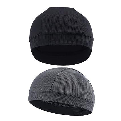 169d9f35239 Amazon.com   Hihelp 2Packs Skull Cap Quick Dry Sports Sweat Beanie Great Cycling  Caps Headband Sweatband for Man Woman   Sports   Outdoors