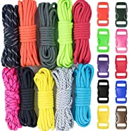 Survival Paracord Combo Crafting Kits - 10 Feet Hanks in 10 Assorted Colors with Pack of 10 Assorted Buckles