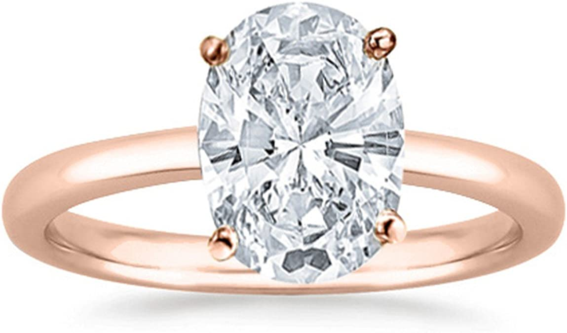 14k white Gold Over 4.58 ct Oval cut Diamond Engagement Solitaire Women/'s Ring