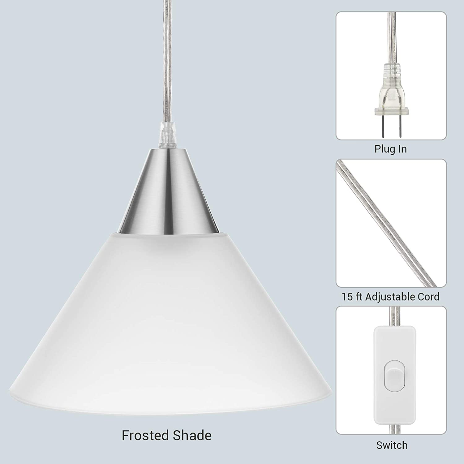 Bedroom Dinning Hall DEWENWILS Plug in Hanging Pendant Light Interior Ceiling Light for Living Room Frosted Plastic White Shade 15FT Clear Cord On//Off Switch,Pack of 2