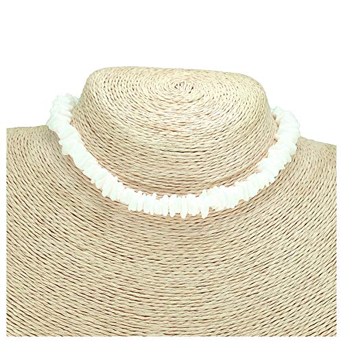 - Bohemian Shells Women Choker Necklace Beige Seashell Necklace Statement Hawaiian Jewelry Adjustable Sea Shell Pendant Cord Bib Collar Necklace Bracelets Set (50cm/19.7inch)