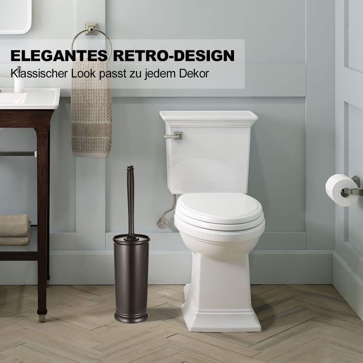 con Spazzola e Supporto per la conservazione e lorganizzazione del Bagno Pulizia accurata Robusto salvaspazio WC Compatto in plastica Spazzola Coperta Homemaxs