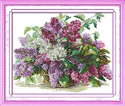 - Cross stitch kits for flower - Eafior DIY Handmade Needlework Embroidery Kits flower pattern printed design Home Decoration Wall Decor 62×52cm(No frame)