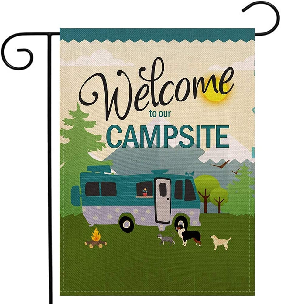 Welcome to Our Campsite Garden Flag 12.5x18 Inches Small Vertical Double Sided Burlap Yard Outdoor Décor