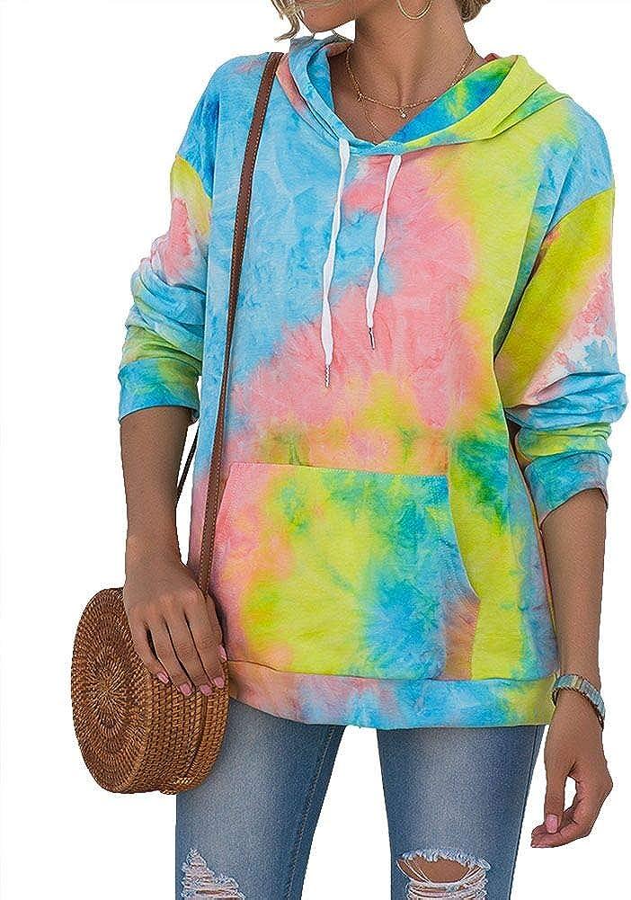 REVETRO Women Tie Dye Sweatshirt Long Sleeve Casual Drawstring Pullover Hoodie Tops with Pocket