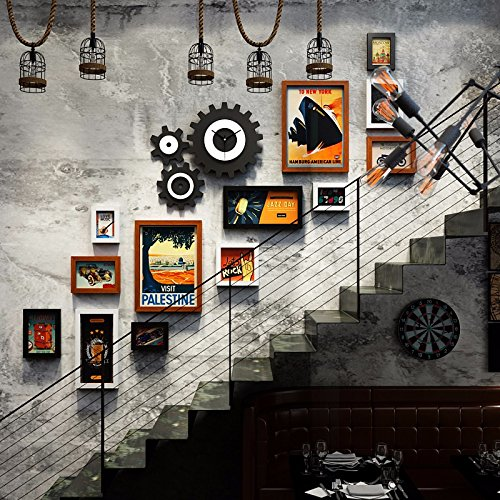 WUXK The staircase walls decorated with pictures of the creative industries combined photo frame wall antique clocks photo wall decoration,3 by WUXK
