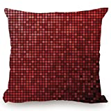 KissCase Throw Pillow Cushion Cover,Maroon,Abstract Mosaic Grid Ombre Pattern Pixels Digital Technology Themed Tile Decorative,Maroon Scarlet Black,Decorative Square Accent Pillow Case
