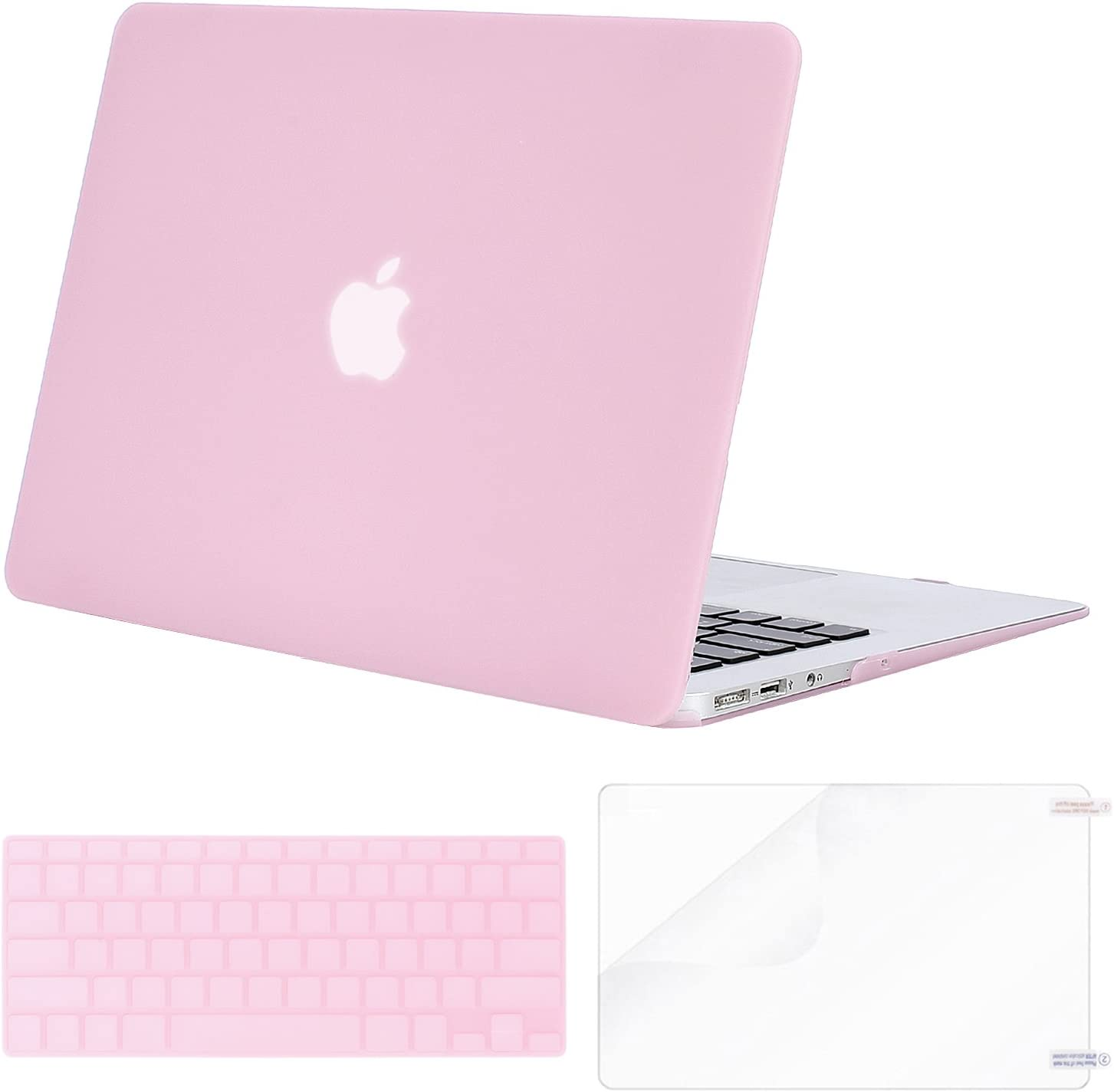 MOSISO Plastic Hard Shell Case & Keyboard Cover & Screen Protector Only Compatible with MacBook Air 13 inch (Models: A1369 & A1466, Older Version 2010-2017 Release), Clear Pink