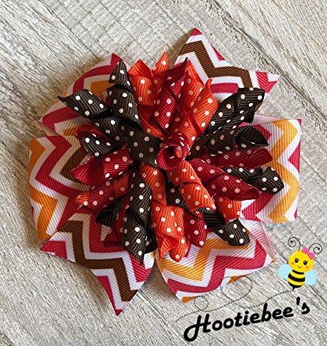 Autumn Colors Chevron Suzie Q Korker Hair Bow