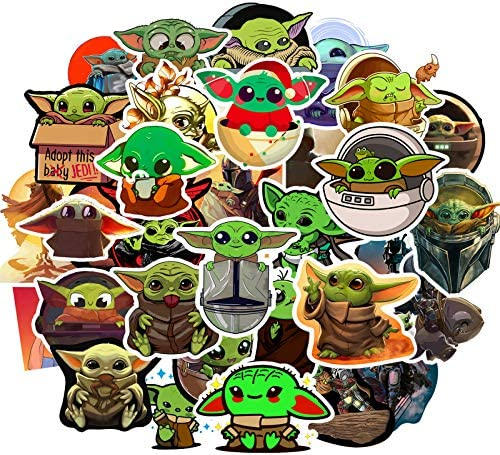 52pcs Yoda Baby Stickers-The Mandalorian Star Wars Decal Waterproof Funny Sticker Cartoon Vinyl Sticker for Laptop Water Bottle Car Cup Computer Guitar Skateboard Luggage Bike Kid Gift.