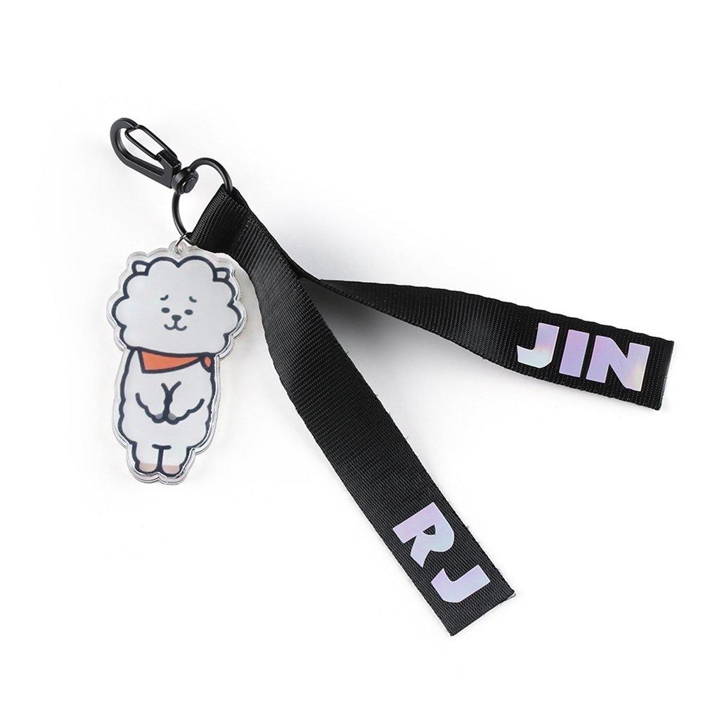 BTS BT21 Characters Mascots Line Friends   Tata, Mang, RJ, Cooky, Shooky, Koya, Chimmy   kPop band members fan keychain (RJ (Jin))