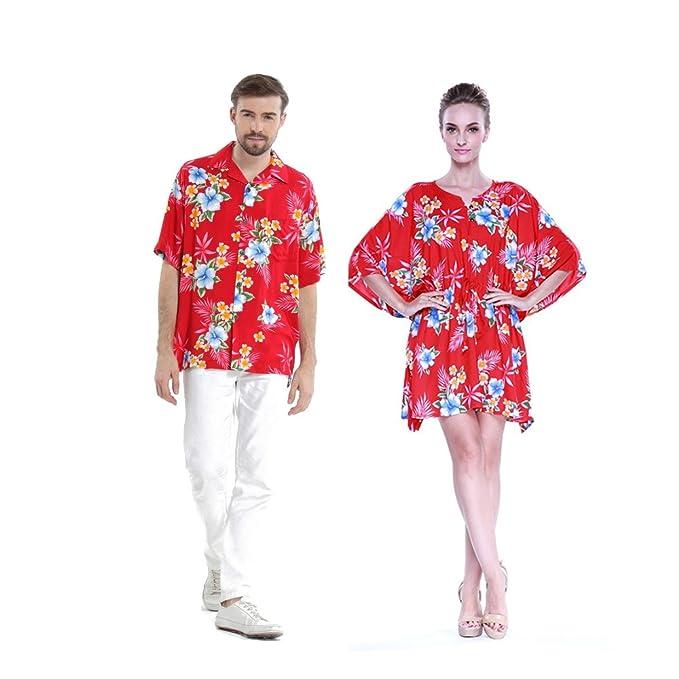 a03cc8efa Pareja Hawaiano Combinación Luau Aloha Camisa y Poncho Vestido en Rojo del  Hibisco  Amazon.es  Ropa y accesorios