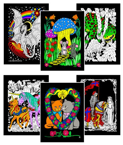 Stuff 2 Color Unicorns, Mice, Dinosaur, Dragons, Kittens, Knight - Six 8x10 Fuzzy Velvet Posters -