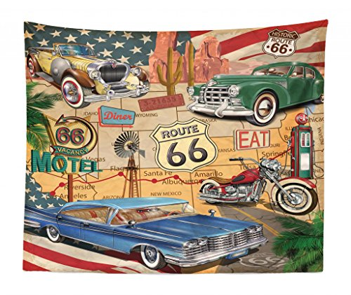 (Lunarable Route 66 Tapestry King Size, Old Fashioned Cars Motorcycle on A Map Road Trip Journey American USA Concept, Wall Hanging Bedspread Bed Cover Wall Decor, 104 W X 88 L Inches, Multicolor)