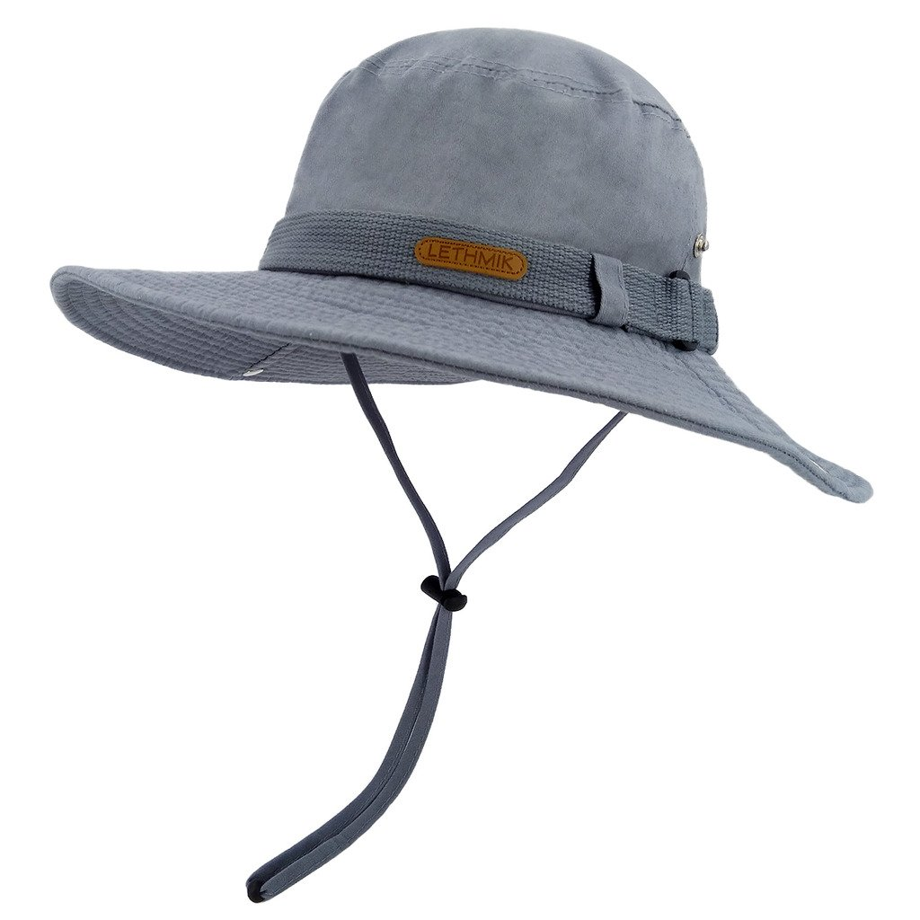 LETHMIK Washed Cotton Boonie Hat Outdoor Unisex Fishing Camping Safari Sun Hat Light Blue