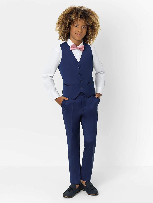 1-14 Years Waistcoat /& Trouser Set 3 Piece Wedding Suit Roco Boys Modern Fit Suit Jacket