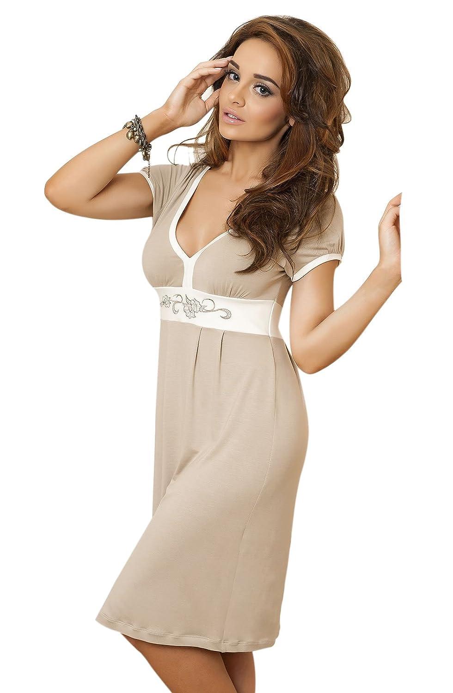 Ladies Luxury Soft Stretchy COmfy Mink Beige Cream Trim Nightdress Nightie