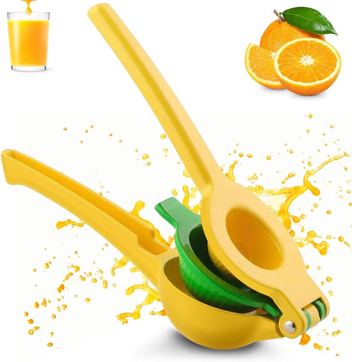 JOMOQ Lemon Squeezer Lime Squeezer Juicer Citrus Juicer Hand Press Manual Juicer, Professional Metal Hand Jucier Handheld Fruit Juicer Faster, Kitchen Lime Squeezer Bar Tool(Yellow)