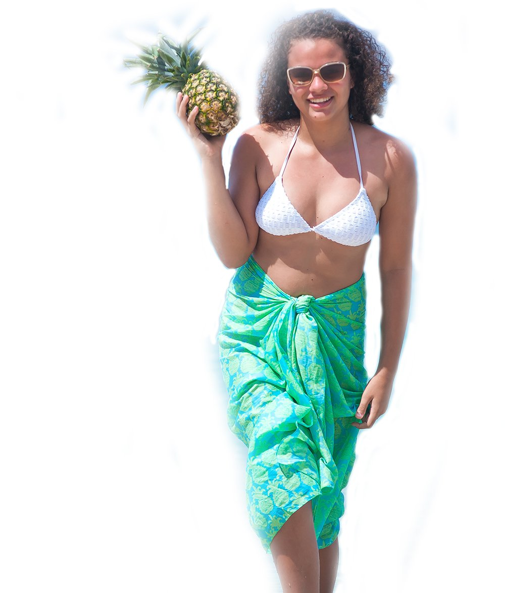 West Indies 100% Pure Cotton Sarong Pareo Beach Swimsuit Cover-Up Cruise Wear Resort Wear Island Wear Great Gift For Birthdays Brides Mother's Day (Tango Aqua)