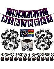 NOA Cartoon Kat Party Decoraties Set Horror Game Karakter Thema Gelukkige Verjaardag Feestbenodigdheden Met Banner Zwart Wit Ballon Cake Toppers Accessoires