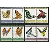 Butterflies stamp pairs - 8 stamps in 4 pairs SG781-788 issued in 1985 Saint Lucia / Mint and unmounted